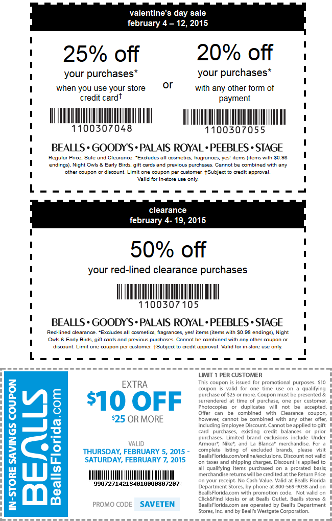 Bealls Coupon January 2017 20% off regular 50% off clearance at Stage, Peebles, Goodys also $10 off $25 at Bealls, or online via promo code SAVETEN