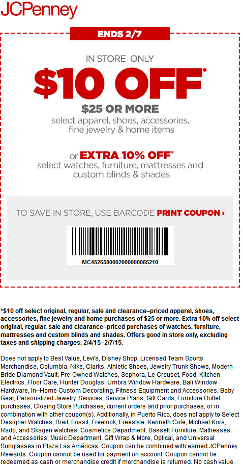 JCPenney Coupon January 2018 $10 off $25 at JCPenney