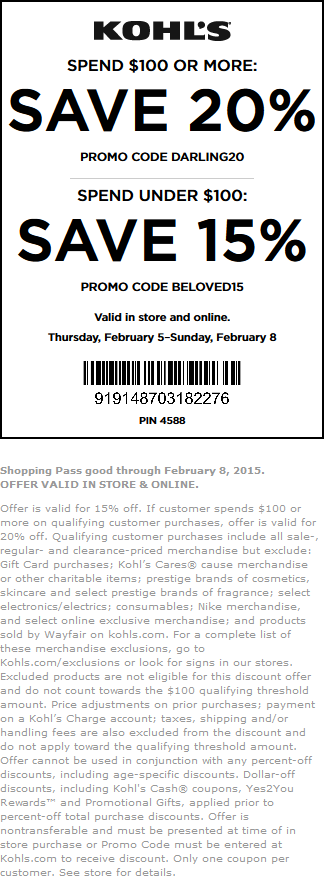 Kohls Coupon November 2017 15-20% off at Kohls, or online via promo code BELOVED15