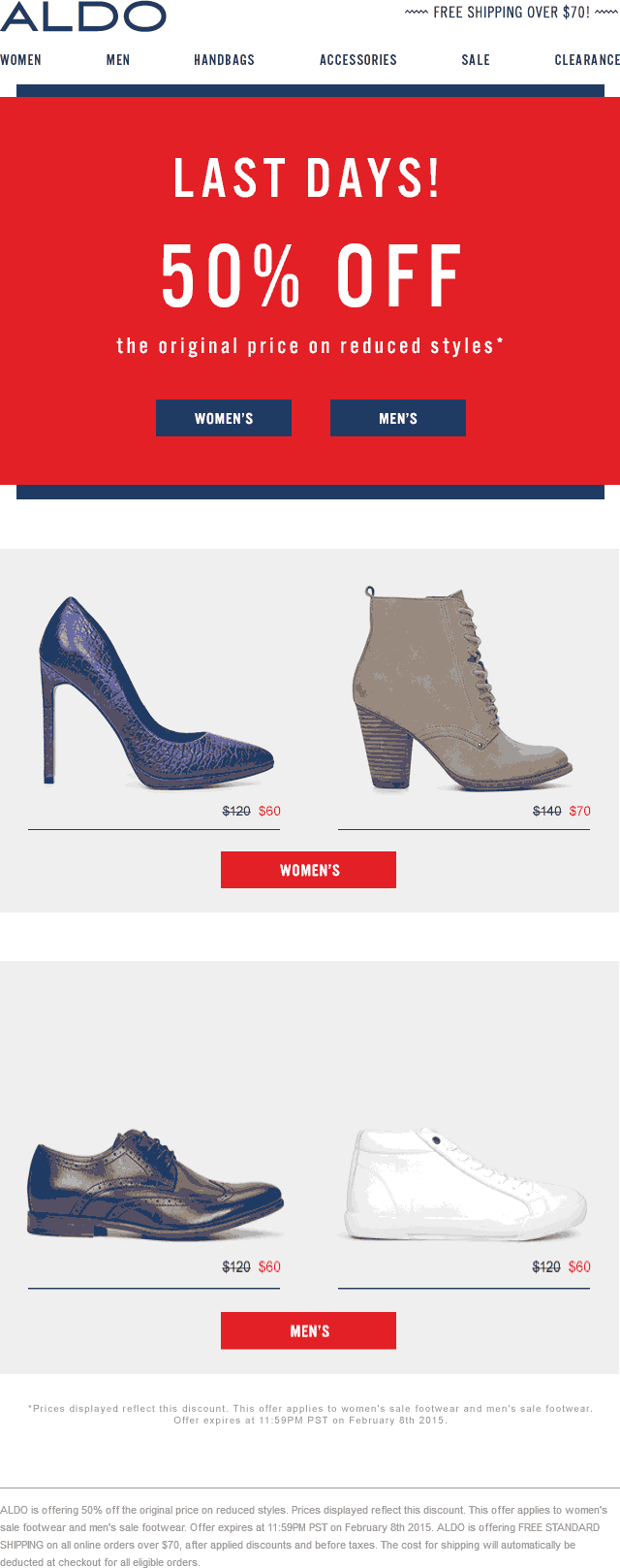 ALDO Coupon May 2018 Extra 50% off sale shoes at ALDO, ditto online