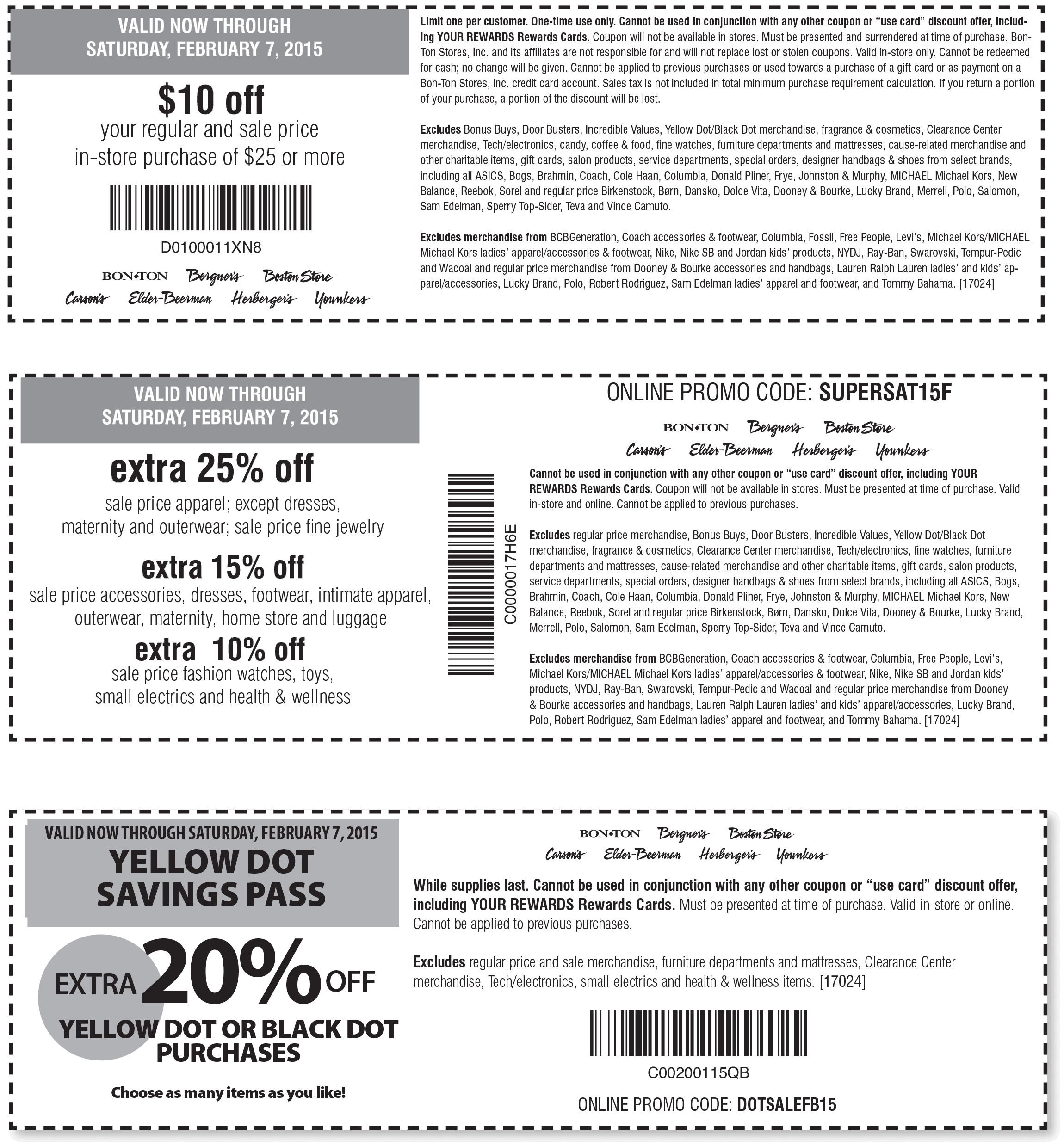 Carsons Coupon May 2018 Extra 25% off sale apparel & more at Carsons, Bon Ton & sister stores, or online via promo code SUPERSAT15F