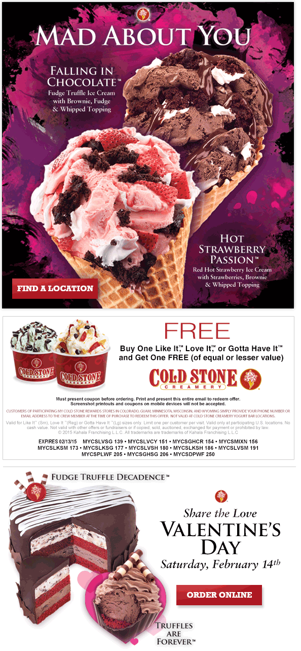 Cold Stone Creamery Coupon January 2017 Second ice cream free at Cold Stone Creamery