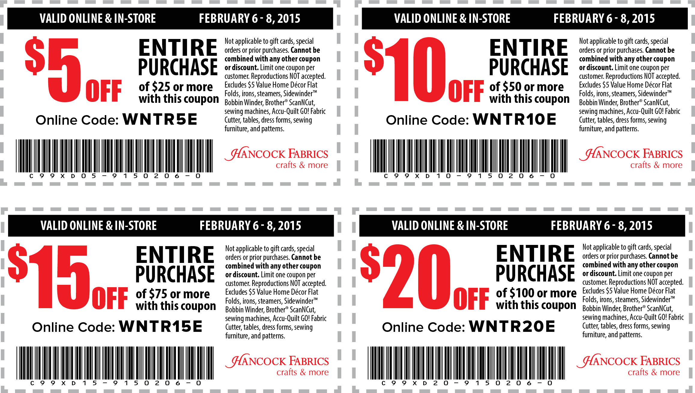 Hancock Fabrics Coupon December 2016 $5 off $25 & more at Hancock Fabrics, or online via promo code WNTR5E