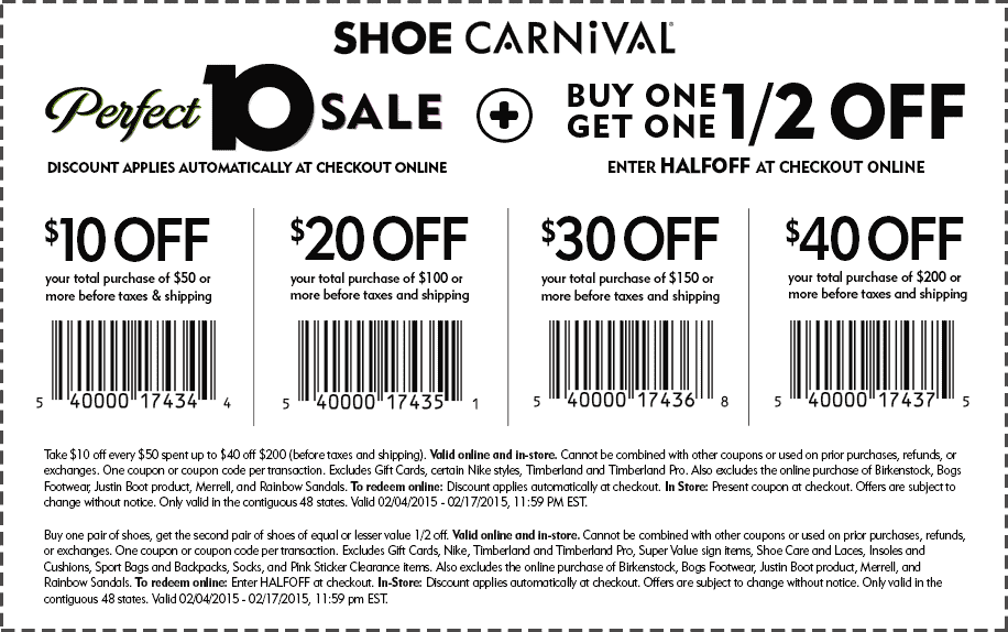 Shoe Carnival Coupon June 2017 Second pair 50% off, $10 off $50 & more at Shoe Carnival, or online via promo code HALFOFF