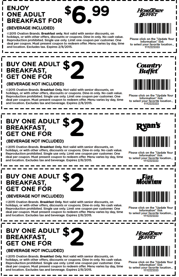 Hometown Buffet Coupon March 2017 Second breakfast $2 & more at Ryans, Hometown Buffet, Country Buffet, Fire Mountain