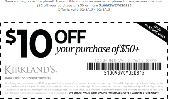 Kirklands Coupon August 2017 $10 off $50 at Kirklands