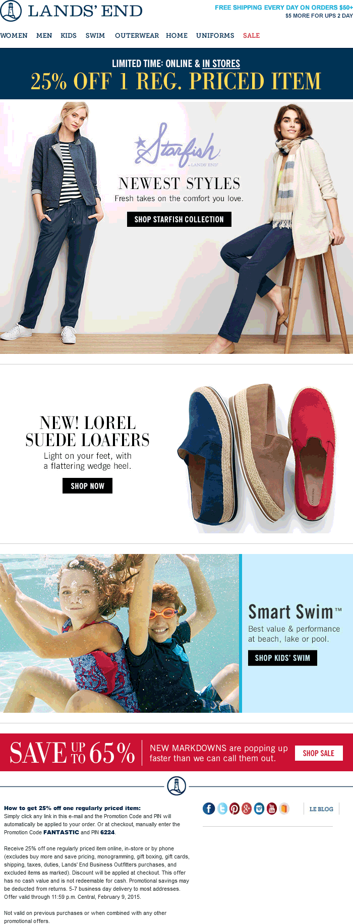 Lands End Coupon November 2017 25% off a single item at Lands End, or online via promo code FANTASTIC and pin 6224