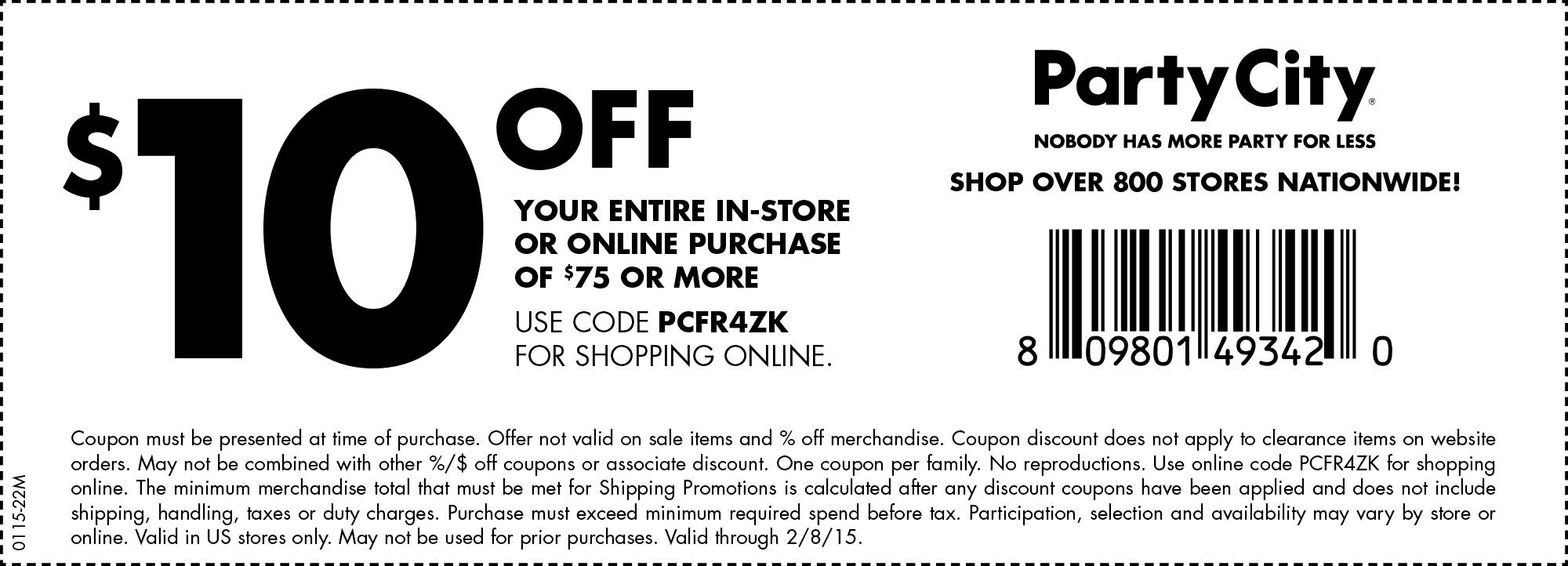 Party City Coupon January 2018 $10 off $75 at Party City, or online via promo code PCFR4ZK