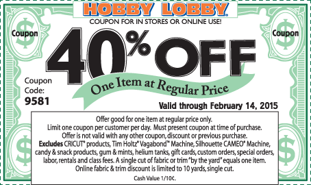 Hobby Lobby Coupon October 2016 40% off a single item at Hobby Lobby, or online via promo code 9581