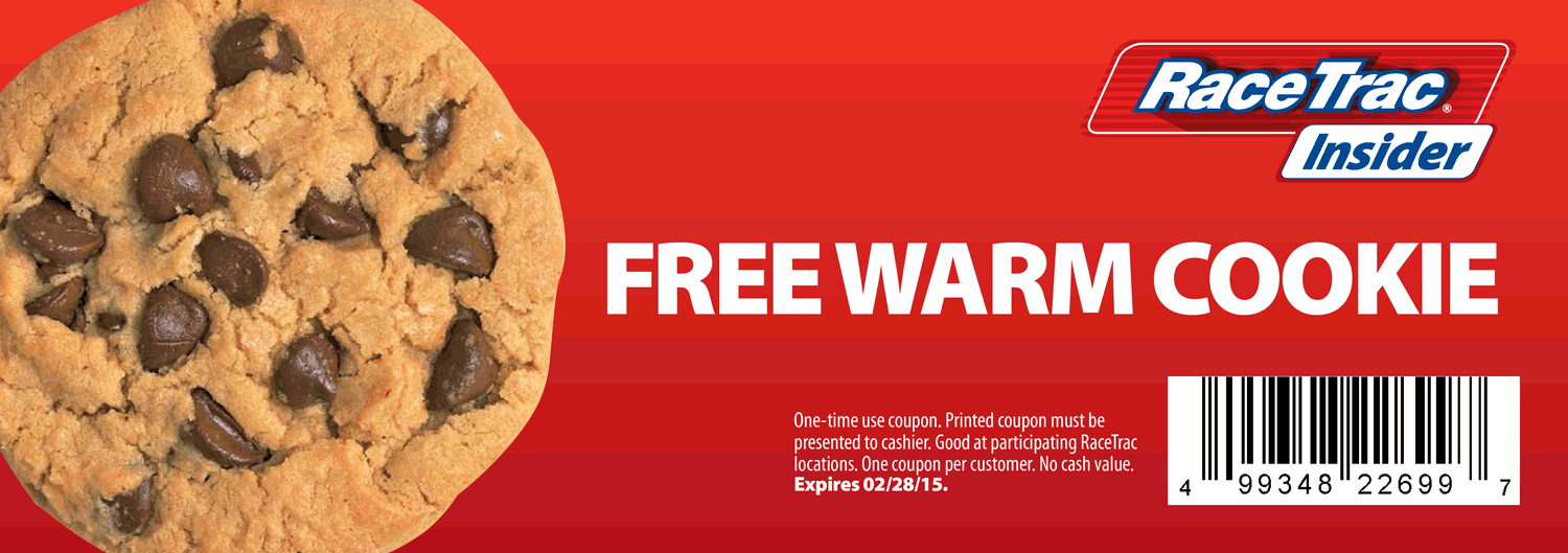Gas Station Coupon January 2017 Free warm cookie at RaceTrac gas stations