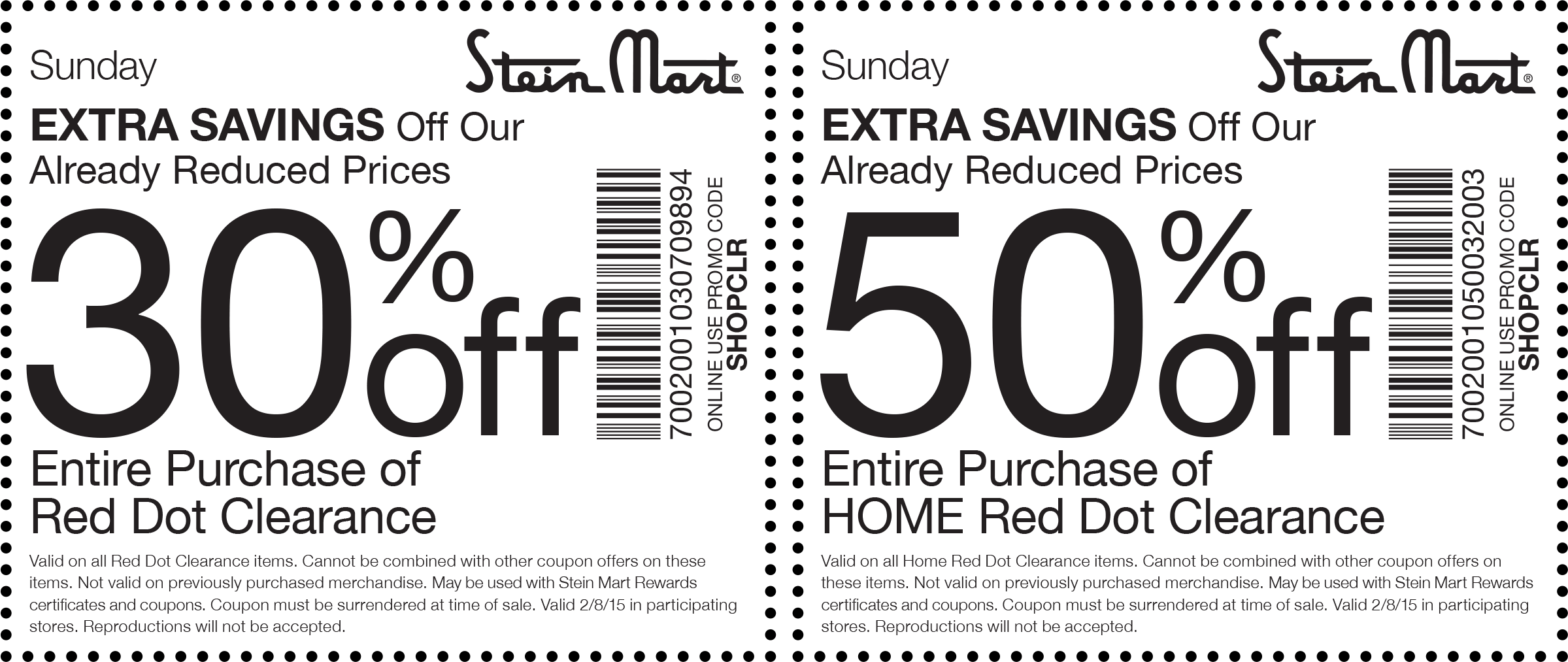 Stein Mart Coupon August 2017 Extra 30-50% off clearance today at Stein Mart, or online via promo code SHOPCLR