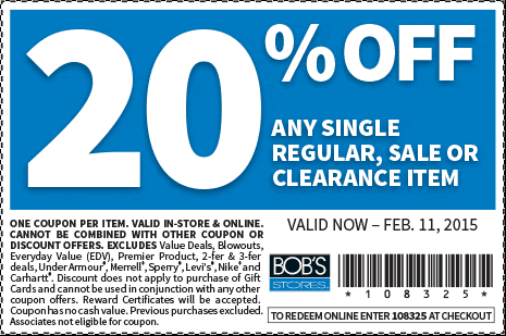 Bobs Stores Coupon March 2018 20% off a single item at Bobs Stores, or online via promo code 108325