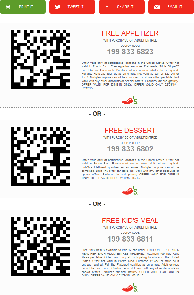 Chilis Coupon March 2019 Free appetizer, dessert or kids meal with yours at Chilis