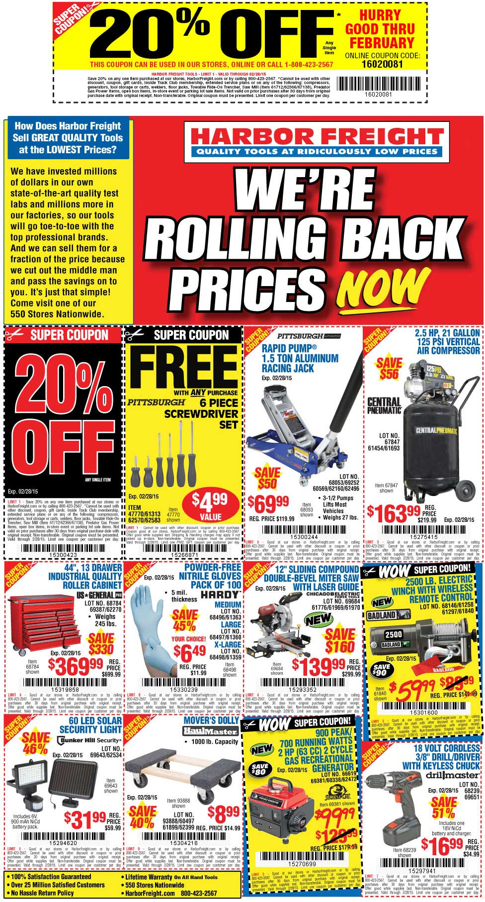 Harbor Freight Coupon June 2017 20% off + various others at Harbor Freight Tools, or online via promo code 16020081