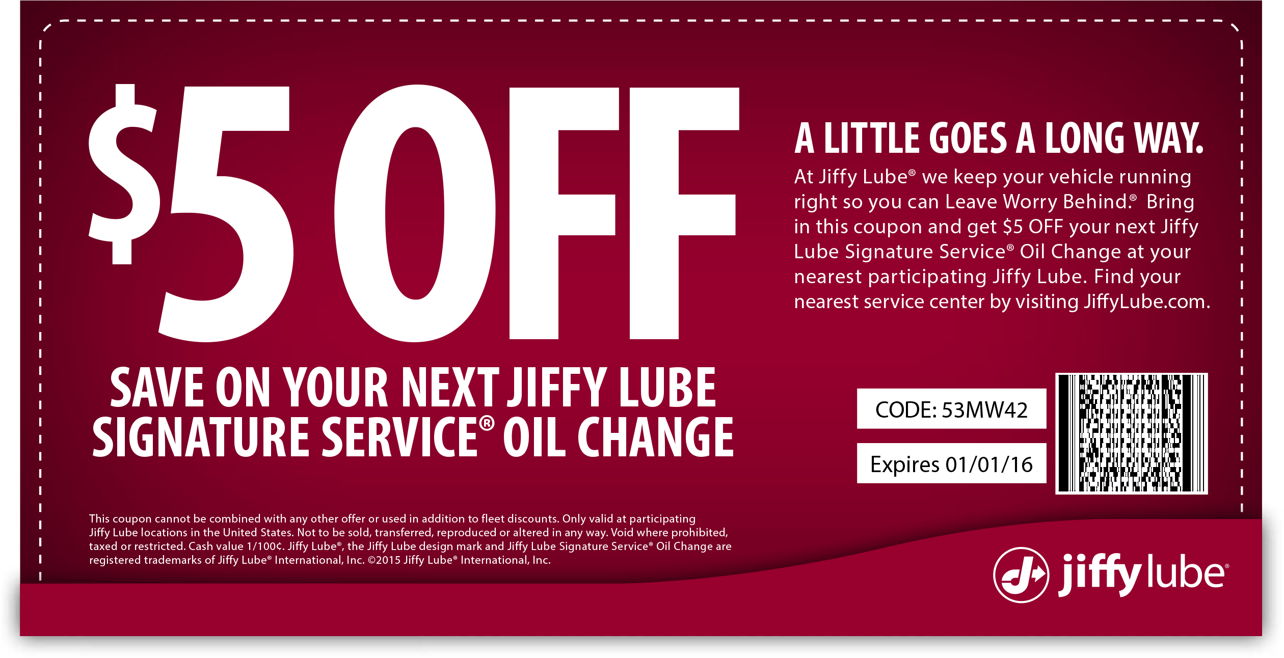 Jiffy Lube Coupon March 2017 $5 off an oil change at Jiffy Lube