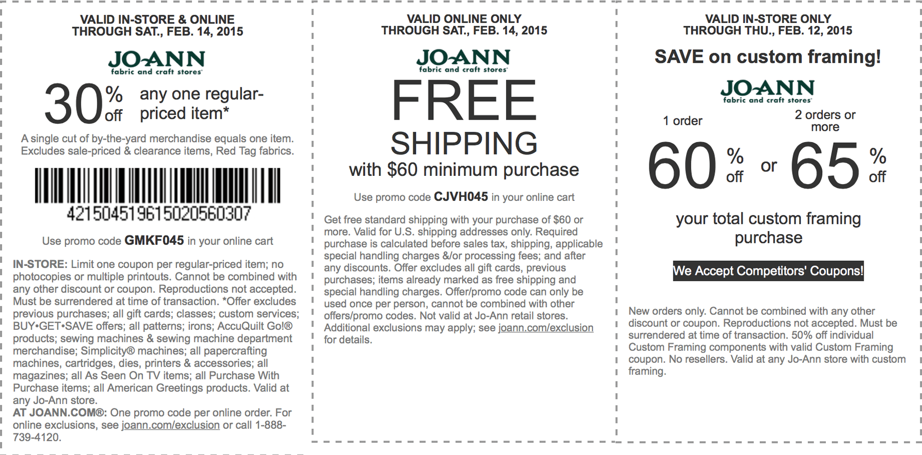 Jo-Ann Fabric Coupon January 2018 30% off a single item & more at Jo-Ann Fabric, or online via promo code GMKF045