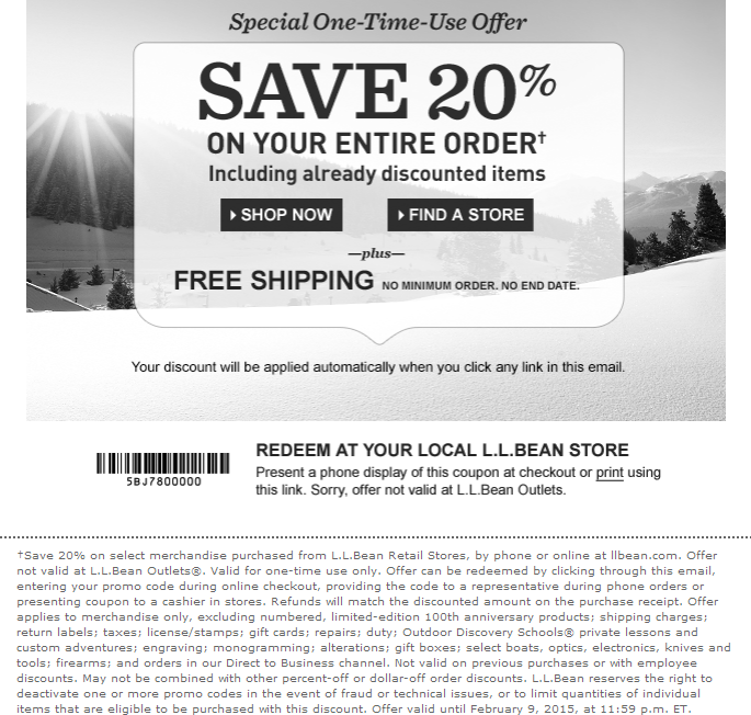 L.L.Bean Coupon January 2018 20% off at L.L.Bean