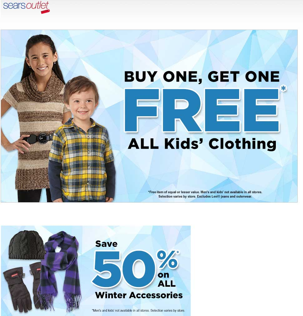 Sears Outlet Coupon December 2016 Two-for-one on kids clothing at Sears Outlet