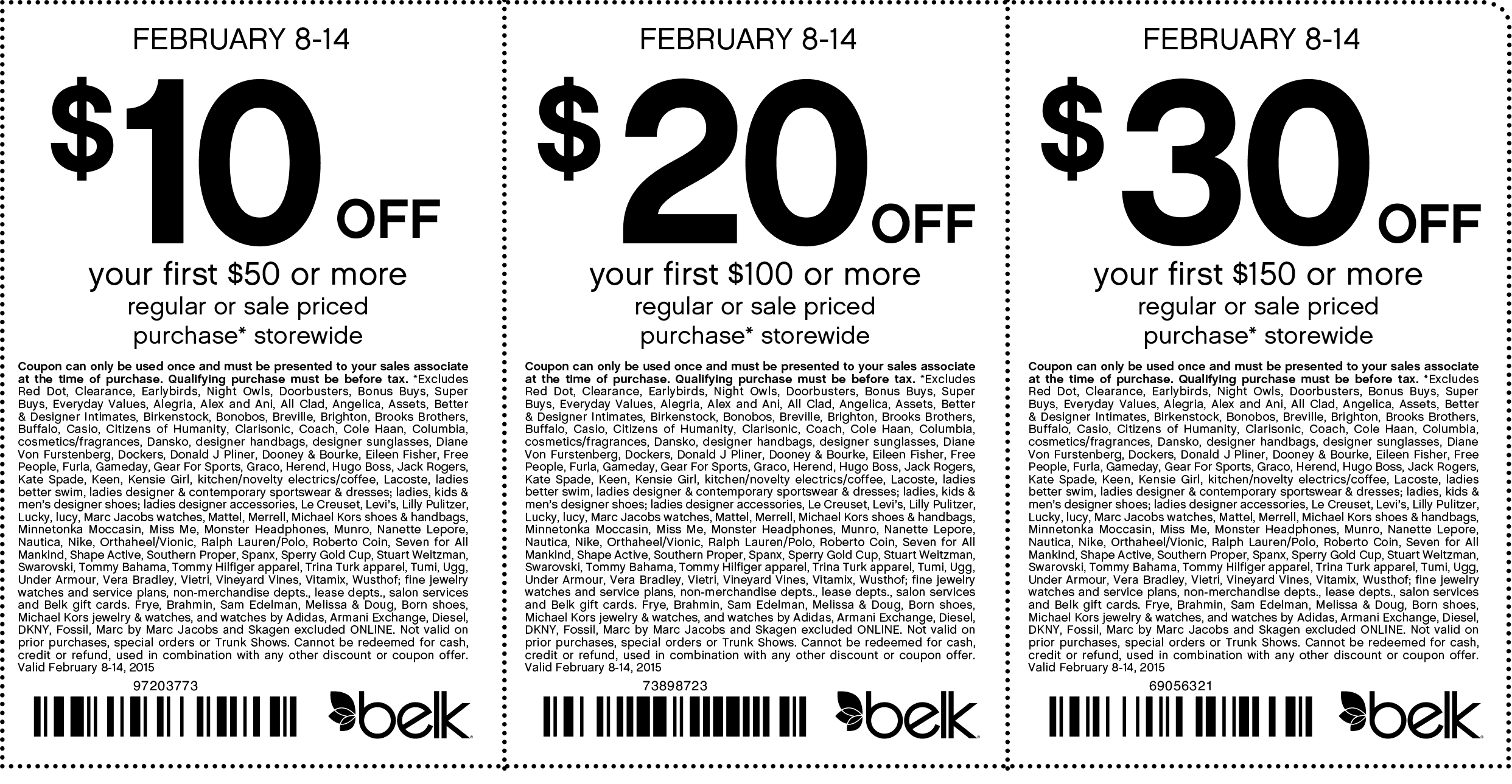 Belk Coupon January 2019 $10 off $50 & more at Belk, or online via promo code 97203773