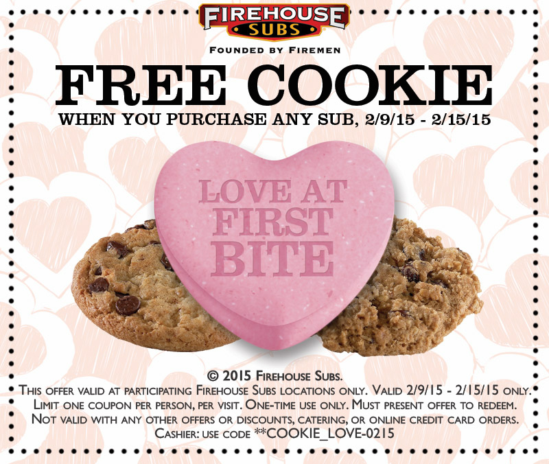 Firehouse Subs Coupon May 2017 Free cookie with your sub at Firehouse Subs