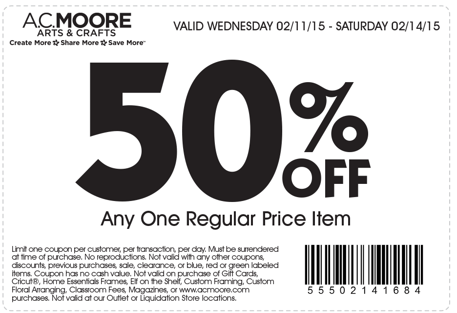 A.C. Moore Coupon January 2017 50% off a single item at A.C. Moore