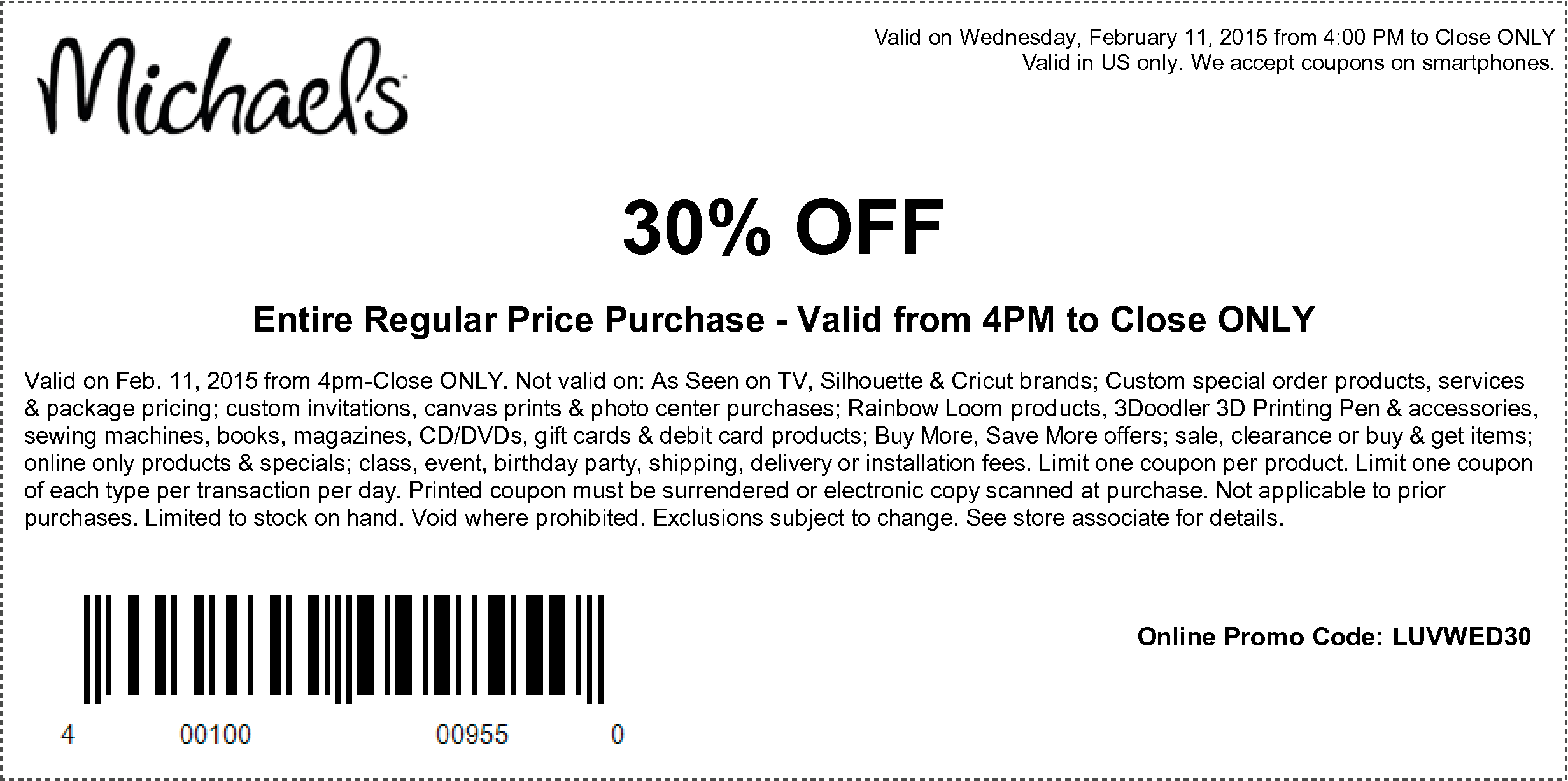 Michaels Coupon January 2017 30% off everything after 4pm today at Michaels, or online via promo code LUVWED30