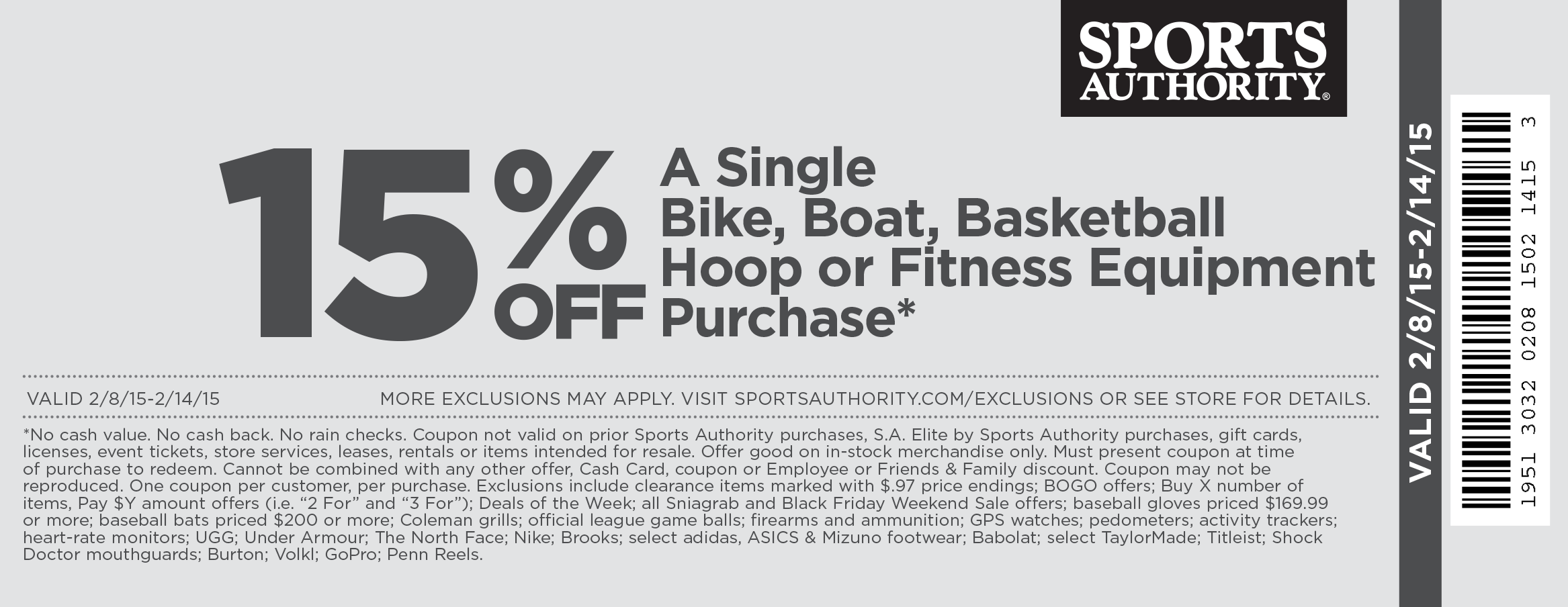 Sports Authority Coupon March 2017 15% off bikes, boats & basketball at Sports Authority, ditto online