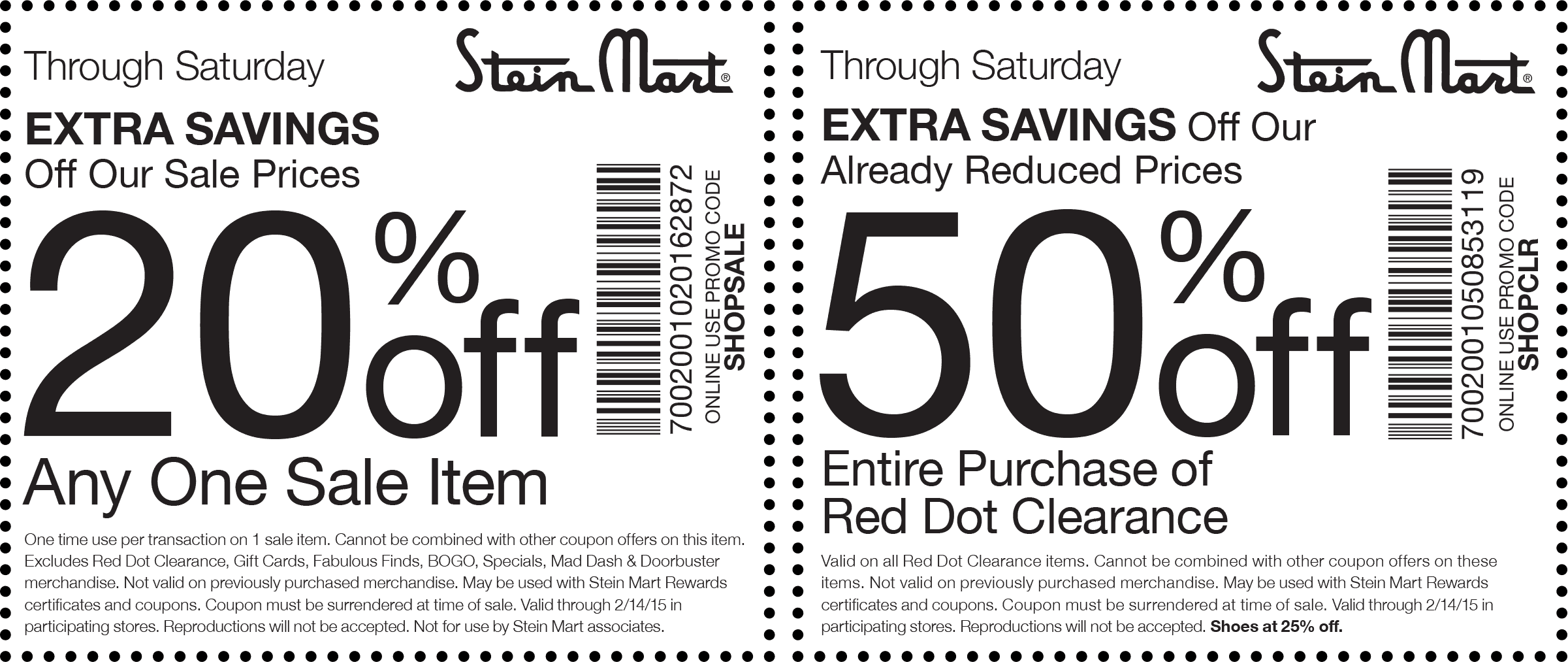Stein Mart Coupon September 2018 Extra 20% off a sale item, 50% off clearance at Stein Mart, or online via promo code SHOPCLR