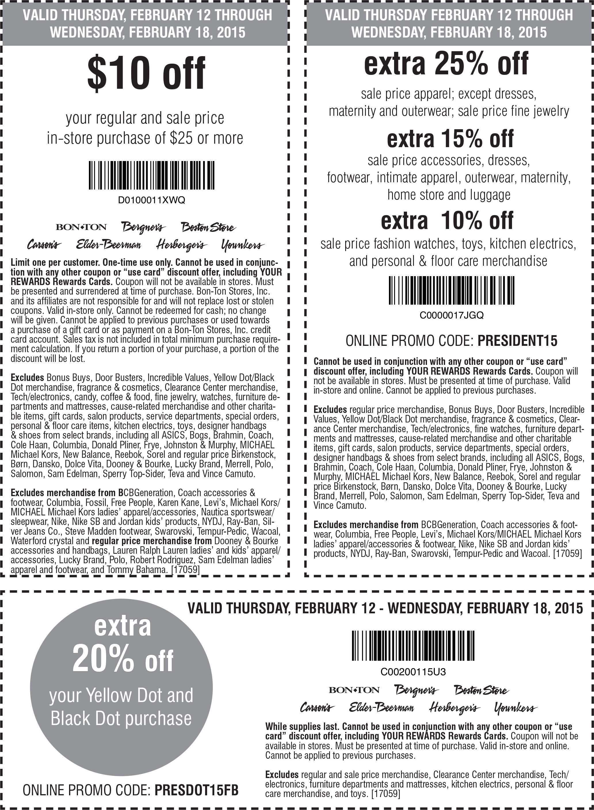 Carsons Coupon December 2016 $10 off $25 & more at Carsons, Bon Ton & sister stores, or 25% off sale apparel online via promo code PRESIDENT15