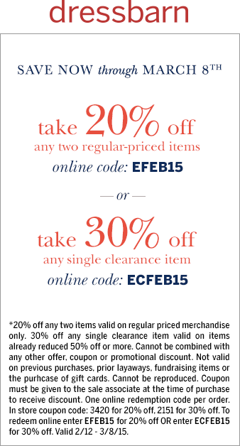 Dressbarn Coupon July 2017 20% off a couple regular items, 30% off a single clearance at Dressbarn, or online via promo EFEB15