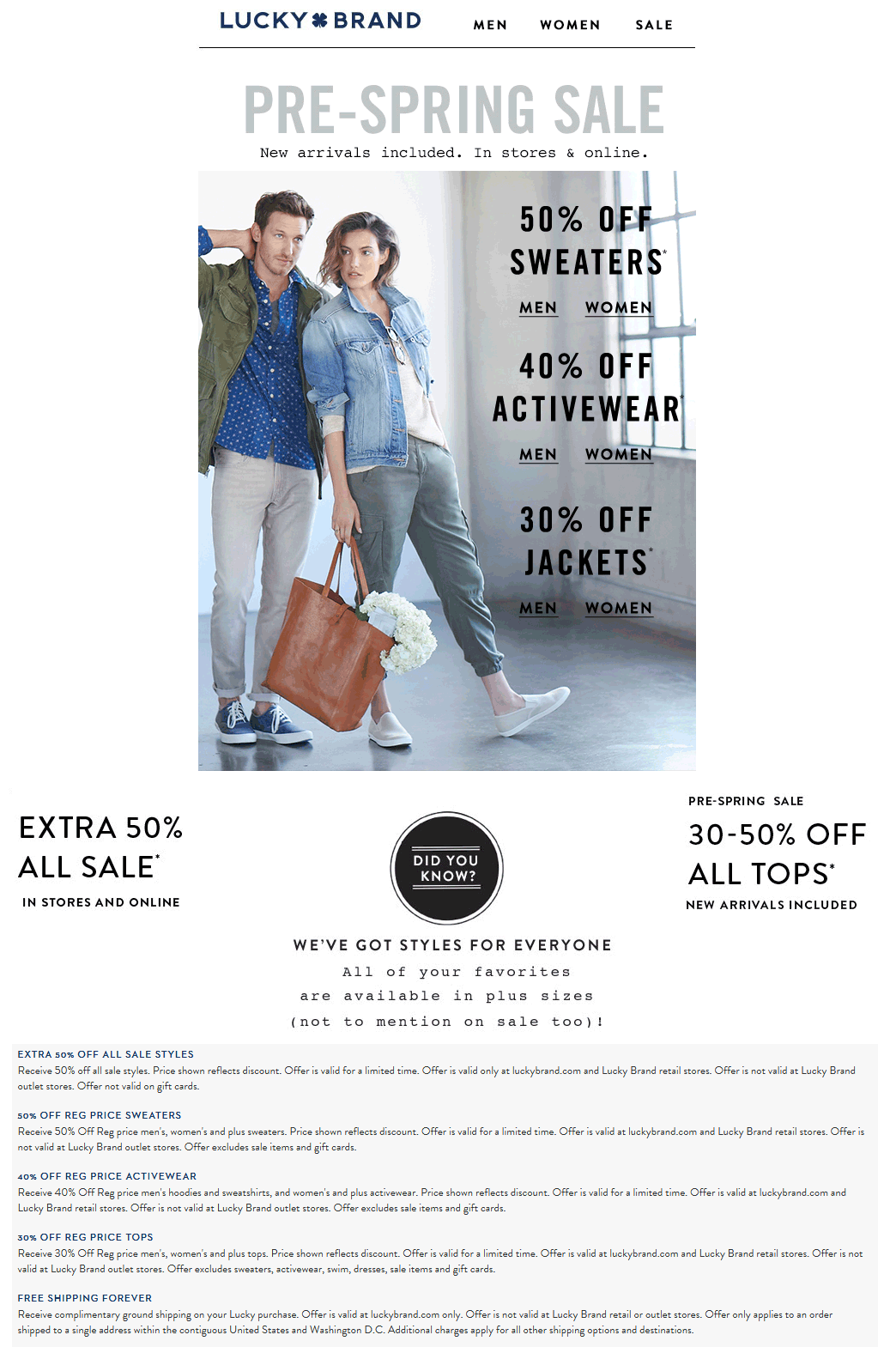 Lucky Brand Coupon April 2017 Extra 50% off sale items & more at Lucky Brand, ditto online
