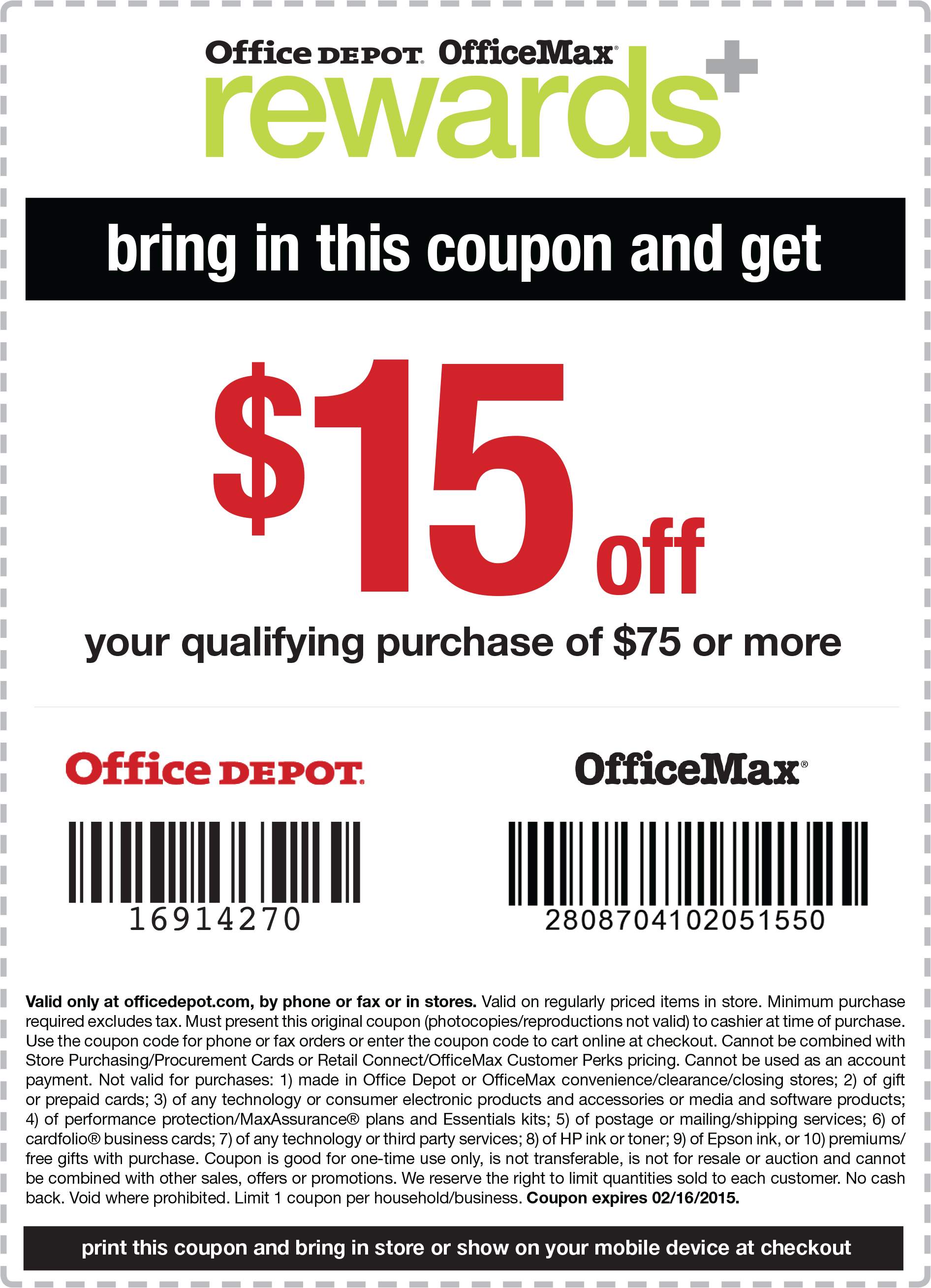 Office Depot Coupon February 2017 $15 off $75 at Office Depot & OfficeMax, or online via promo code 16914270