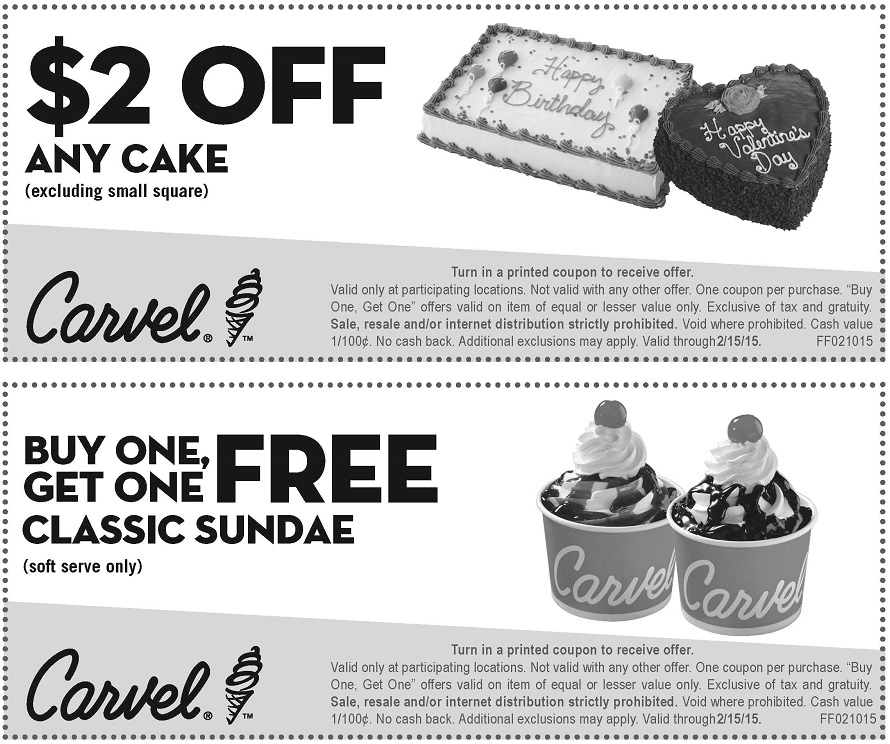 Carvel Coupon February 2018 Second ice cream sundae free at Carvel
