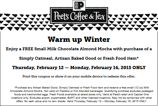 Peets Coffee & Tea Coupon July 2017 Almond mocha free with your food item at Peets Coffee & Tea