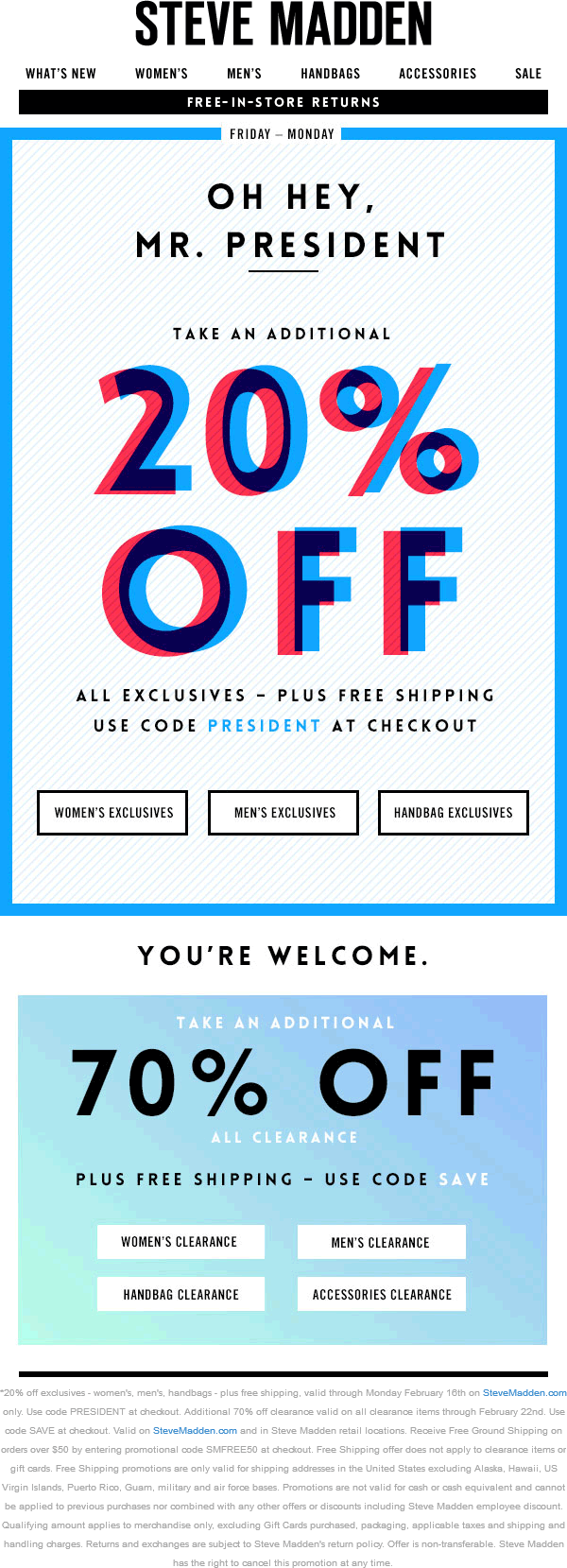 Steve Madden Coupon April 2017 Extra 70% off clearance & more online at Steve Madden via promo code SAVE