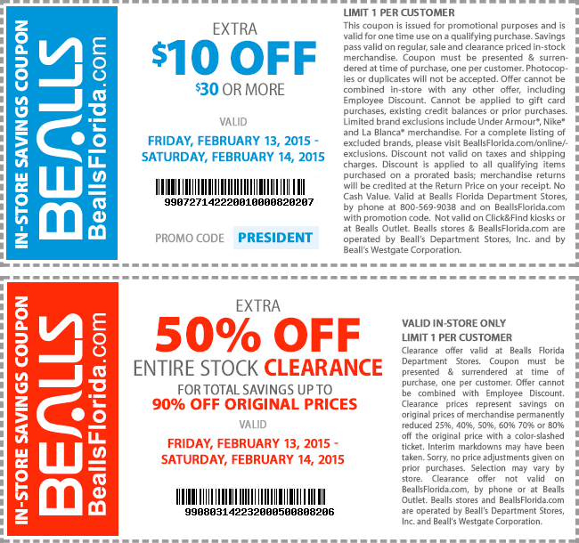 Bealls Coupon December 2016 $10 off $30 today at Bealls, or online via promo code PRESIDENT