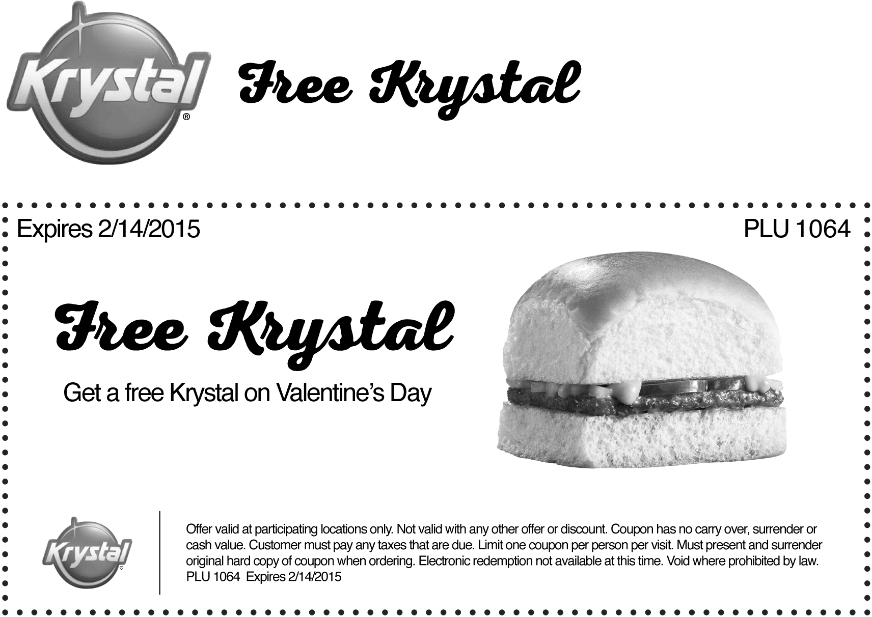 Krystal Coupon December 2016 Free burger today at Krystal