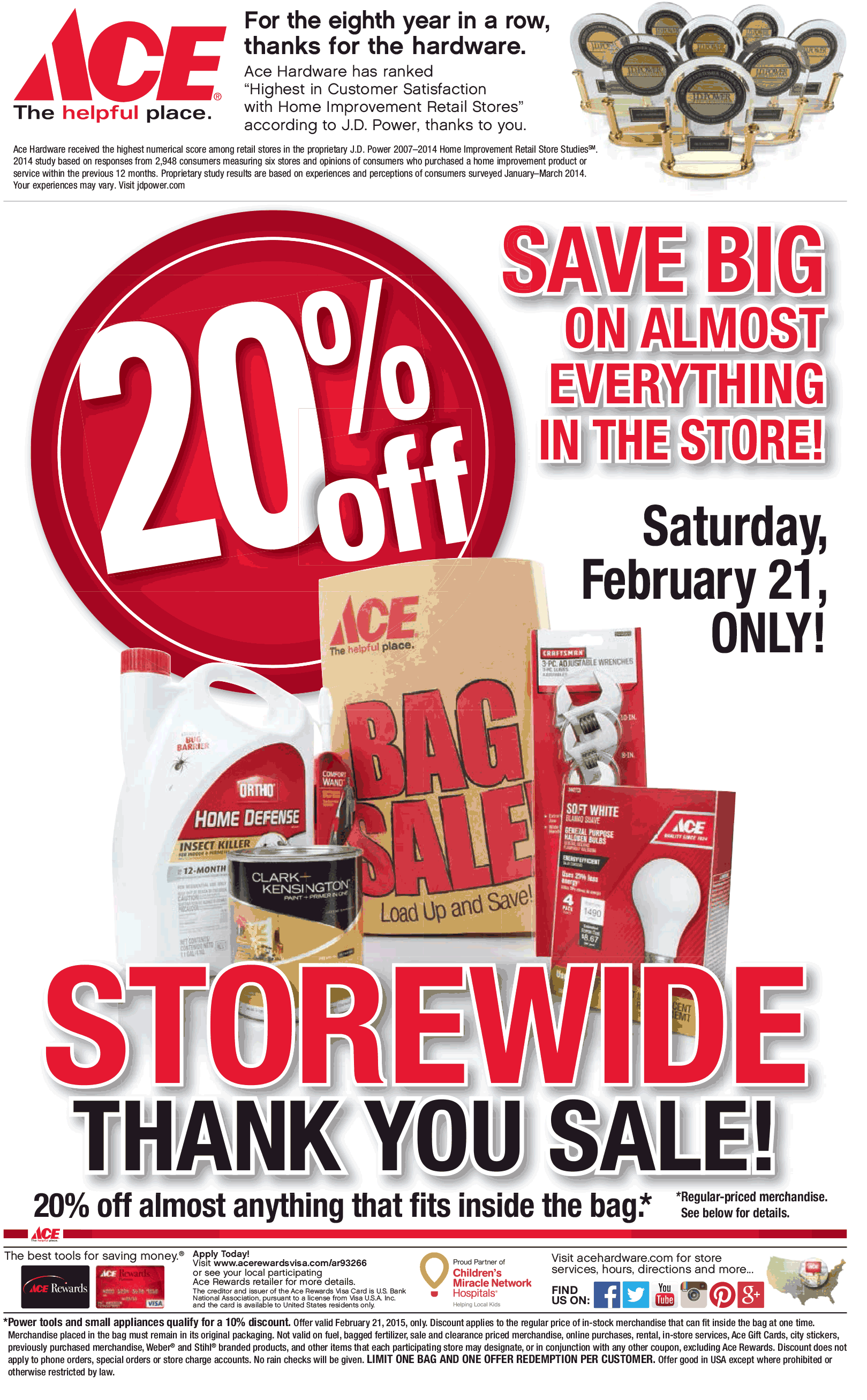 Ace Hardware Coupon November 2018 20% off whatever fits in the bag Saturday at Ace Hardware