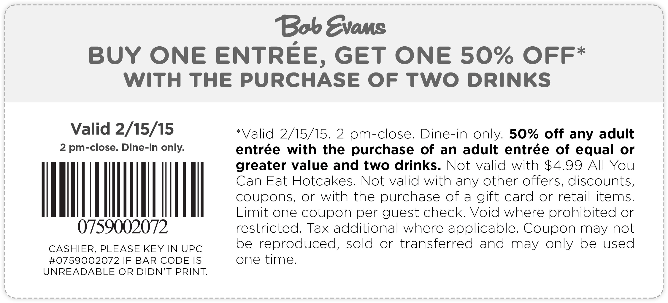 Bob Evans Coupon November 2018 Second entree 50% off today at Bob Evans