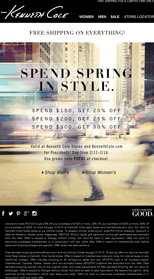 Kenneth Cole Coupon May 2017 20% off $150 & more at Kenneth Cole, or online via promo code POTUS