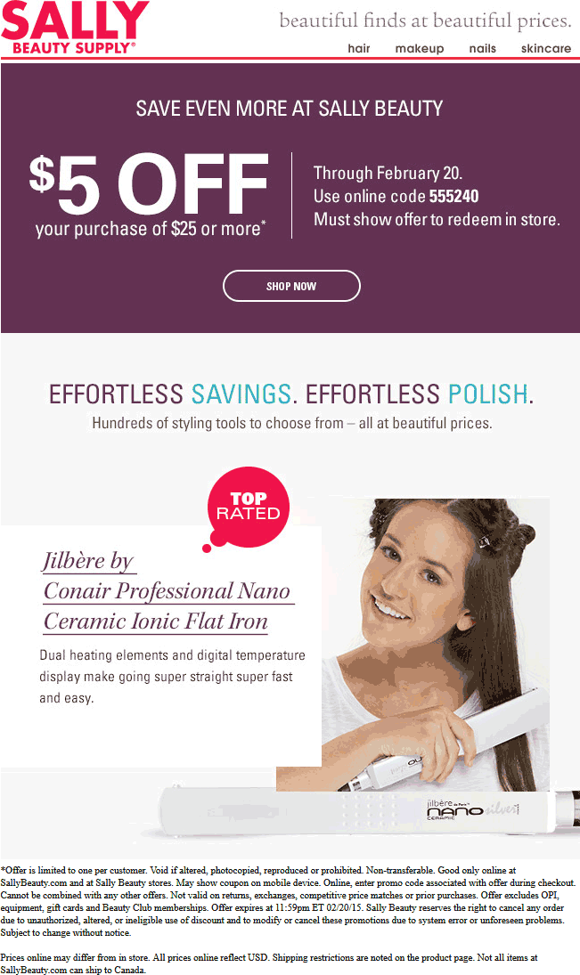Sally Beauty Coupon February 2017 $5 off $25 at Sally Beauty Supply, or online via promo code 555240