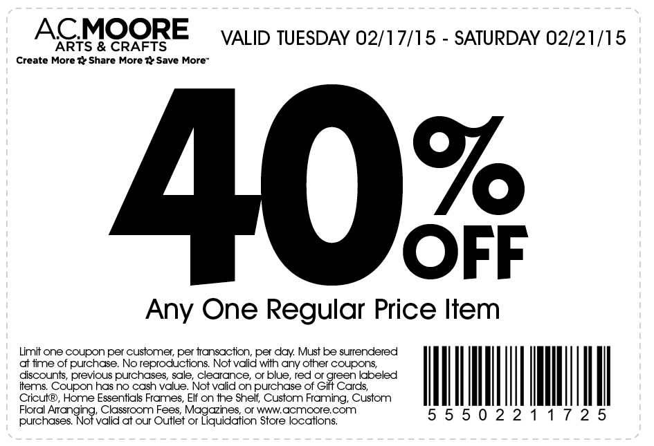 A.C. Moore Coupon January 2017 40% off a single item at A.C. Moore