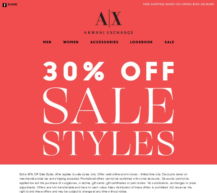 Armani Exchange Coupon January 2017 Extra 30% off sale items at Armani Exchange, ditto online