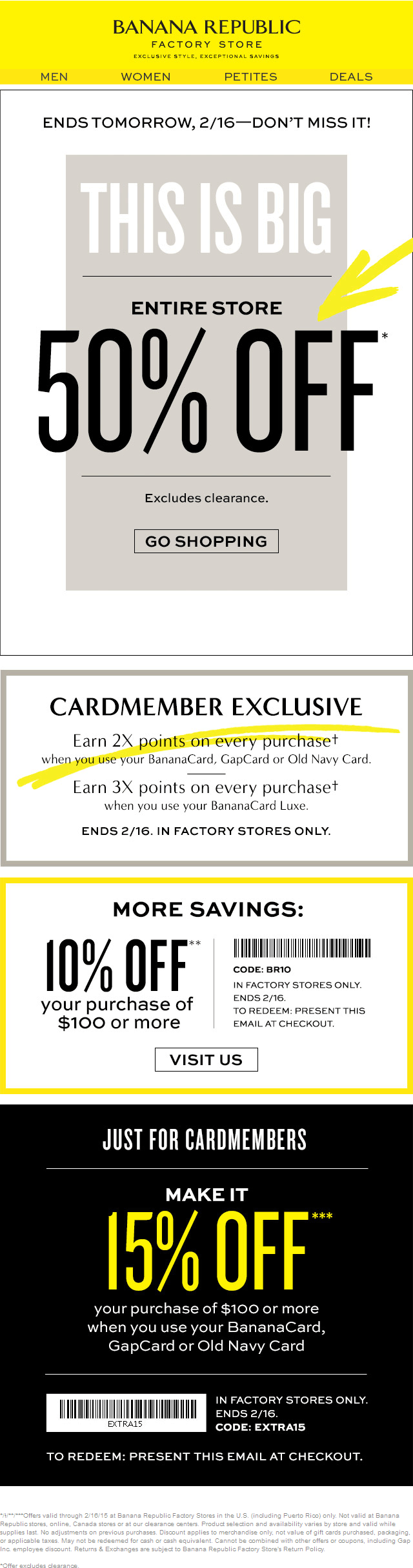 Banana Republic Factory Coupon November 2018 Everything is 50% off & more today at Banana Republic Factory stores
