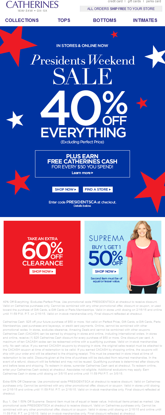 Catherines Coupon July 2018 Everything is 40% off today at Catherines, ditto online