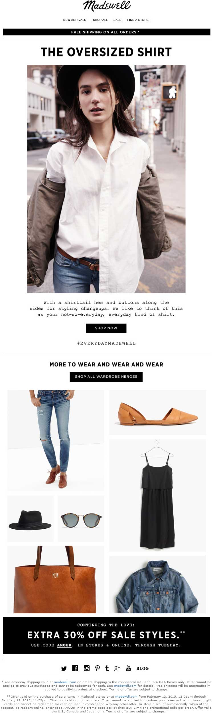 Madewell Coupon March 2018 Extra 30% off sale items at Madewell, or online via promo code AMOUR