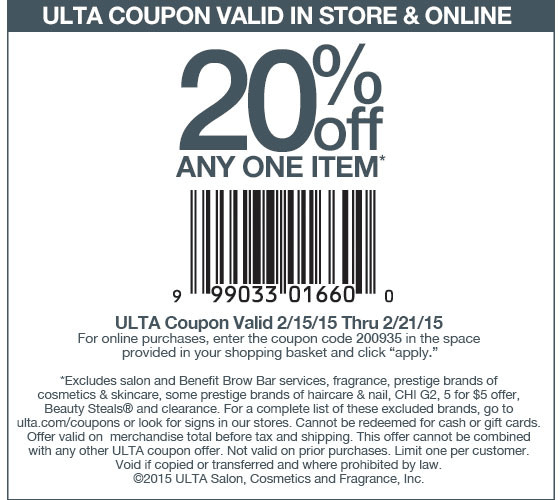 Ulta Coupon March 2017 20% off a single item at Ulta, or online via promo code 200935