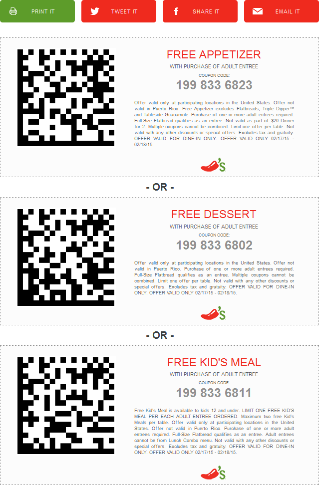 Chilis Coupon February 2019 Free appetizer, dessert or kids meal with yours at Chilis