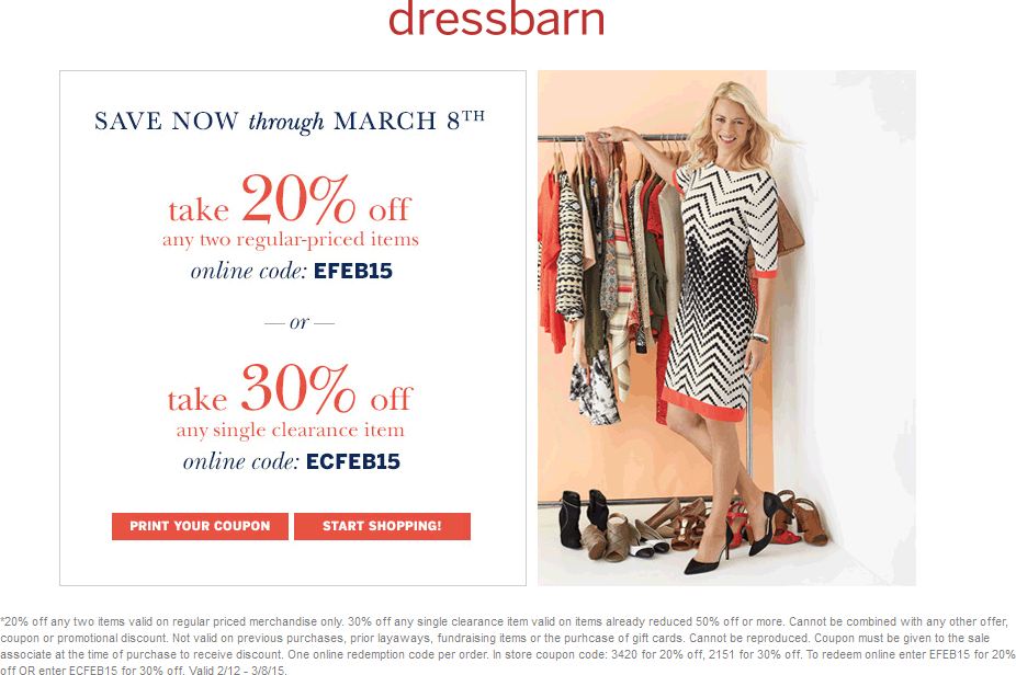 Dressbarn Coupon March 2018 20-30% off regular or clearance at Dressbarn, or online via promo code EFEB15