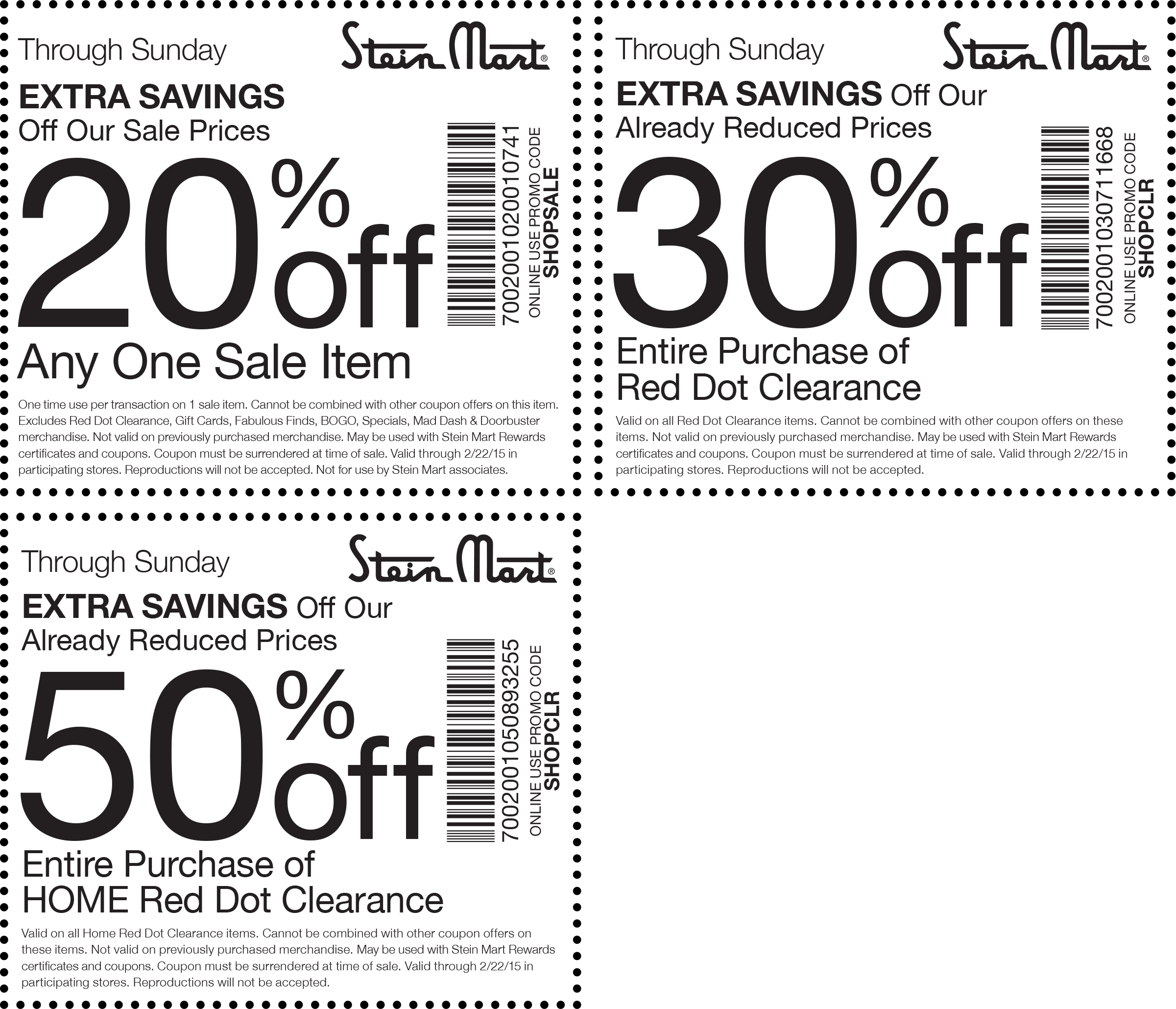 Stein Mart Coupon December 2016 20% off a sale item, 50% off clearance at Stein Mart, or online via promo code SHOPSALE